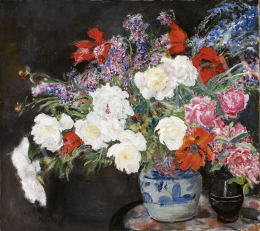 Csók, István - Flower Still Life with Poppies and Roses, 1918