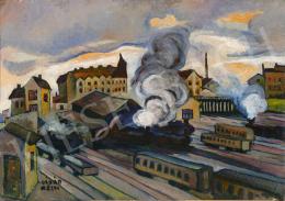 Kádár, Béla - Railway Station in Wien (Locomotive Smoke), 1920