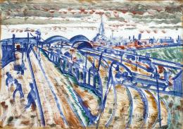 Scheiber, Hugó - Metropolitan Train Station with Early Morning Lights, c. 1922