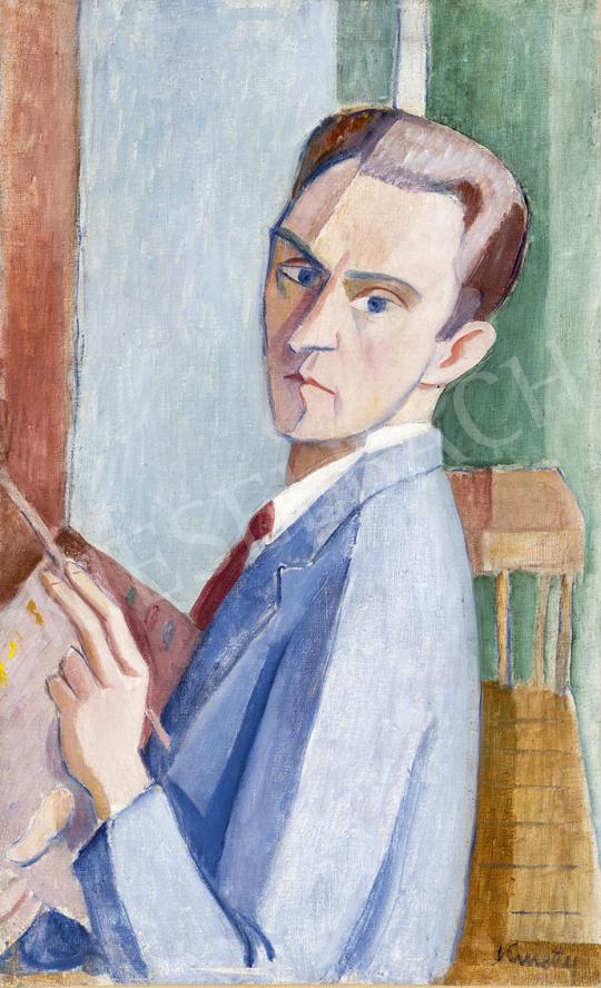 Kmetty János - Önarckép ecsettel, 1920-as  évek festménye
