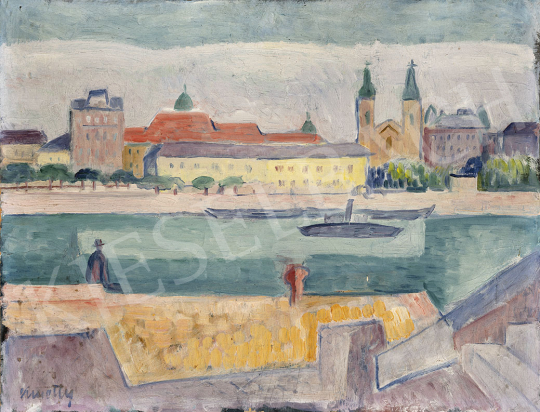 Kmetty János - Budapesti látkép a Dunával, 1930-as évek festménye