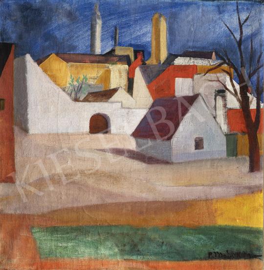Modok Mária - Szentendrei házak, 1930 körül festménye