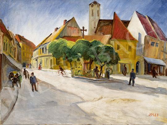Jeges Ernő - Szentendre főtere, 1930 körül festménye