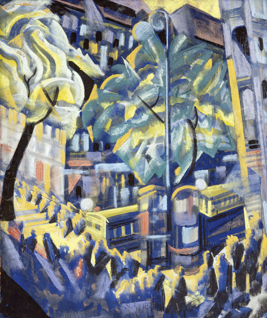 Scheiber Hugó - Városi fények, 1920-as évek vége festménye