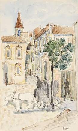 Kádár, Béla - Street Scene with Cab, 1940's