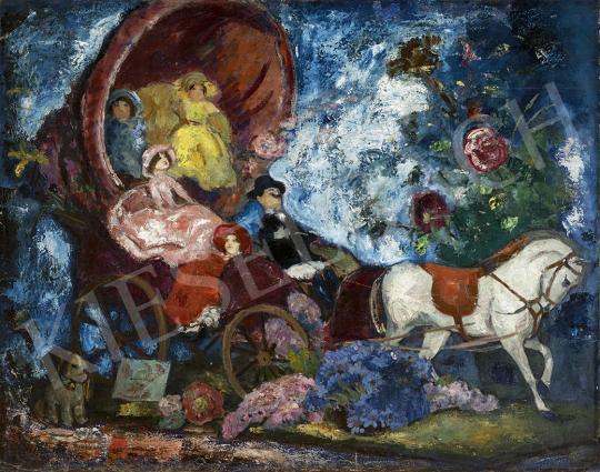 Iványi Grünwald Béla - Kocsikázás, virágok között, 1930-as évek festménye