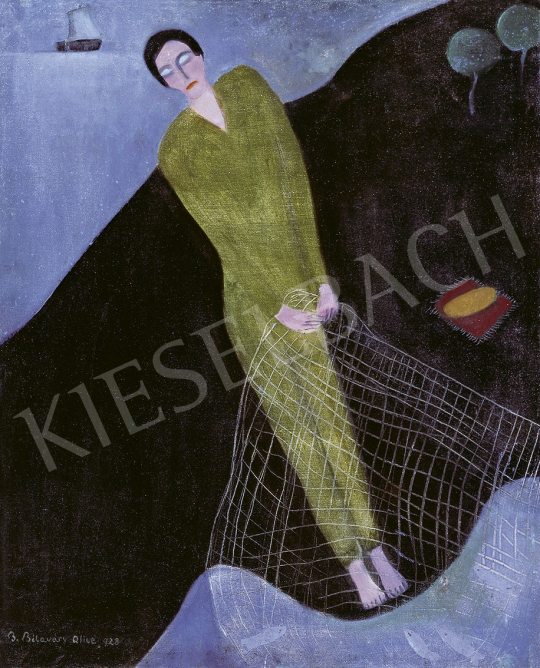 B. Bélaváry Alice - Halász, háttérben vitorlással, 1928 festménye