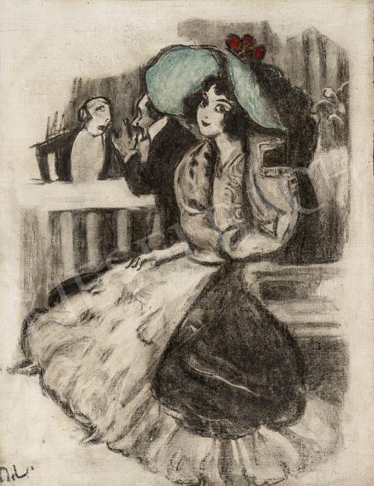 Márk Lajos - Zöld kalapos lány (Mulatóban, szeparé) festménye