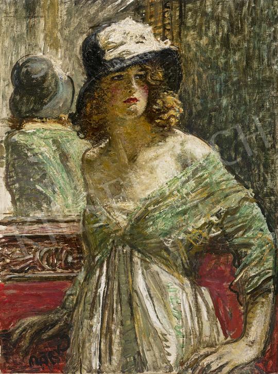 Márk Lajos - Tükör előtt festménye