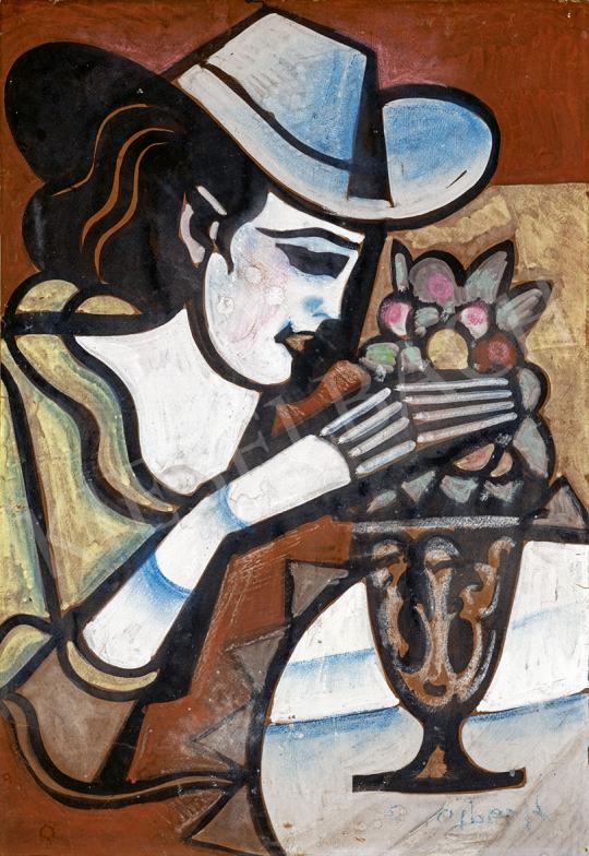 Scheiber Hugó - Virágot rendező art deco nő, 1930-as  évek festménye