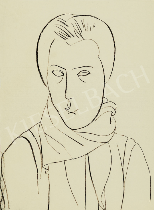 Vajda Lajos - Japános fej, 1934 körül festménye