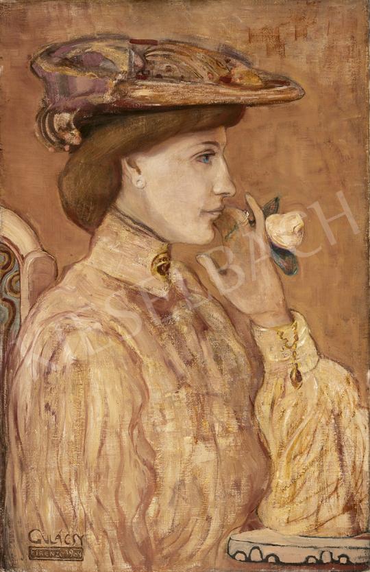 Gulácsy Lajos - Nő rózsával, 1904 festménye
