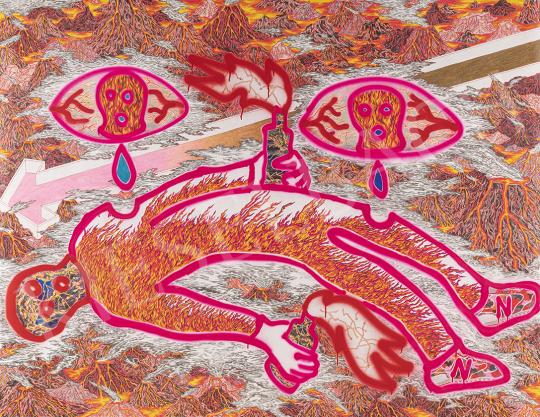Monory Ráhel - Az aktivista halála III., 2018 festménye
