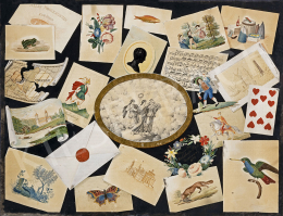 Unknown Painter c.1843 (Mihálovits Sóphi, Zombor) - Hungary's Attributes (Good Wishes for the New Year), 1843