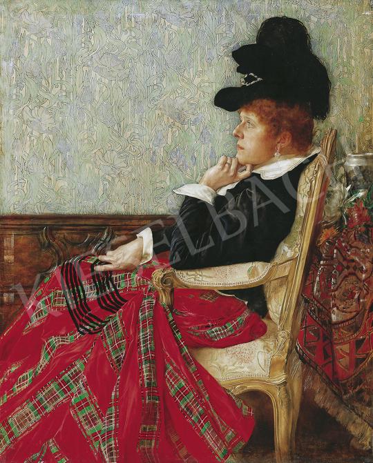 Karlovszky Bertalan - Karosszékben ülő nő (Heltai Ferencné), 1889 festménye