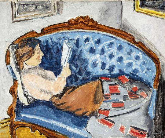 Fenyő György - A kék kanapé, 1937 festménye