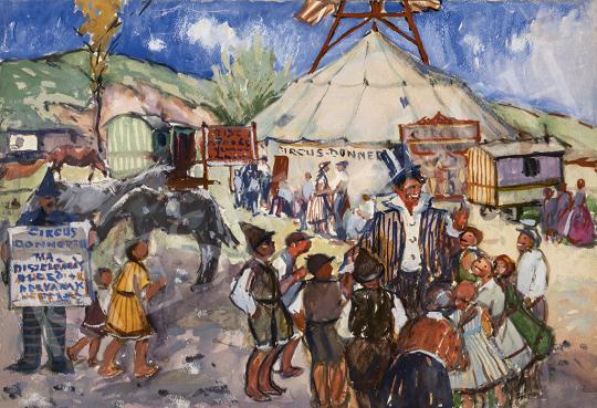 Kássa Gábor - Cirkusz óbudán (Donner Cirkusz) festménye