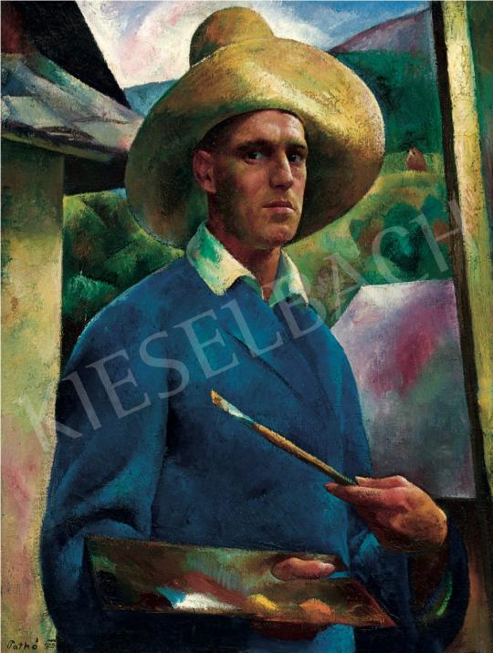 Patkó Károly - Kalapos önarckép, 1925 festménye