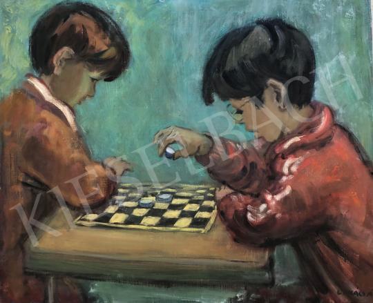 Eladó  Lukács Ágnes - Malomjátékot játszó gyerekek, 1965 festménye