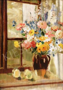 Csabai Rott, Margit - Colored Flower Still-Life in the Studio, 1932