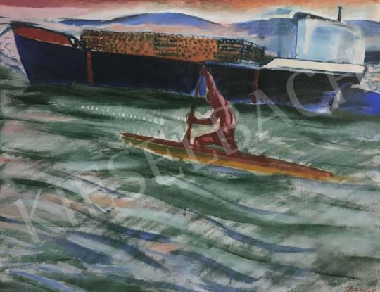 For sale  Szurcsik, János - Kayaker on the Danube, 1974 's painting