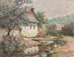 Szontágh Tibor - Piros ruhás lány a patak partján