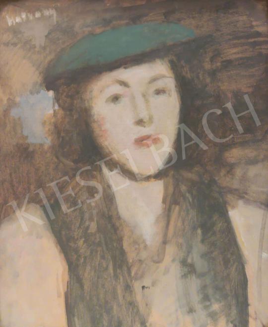 Eladó Hatvany Ferenc - Zöld barettes lány festménye