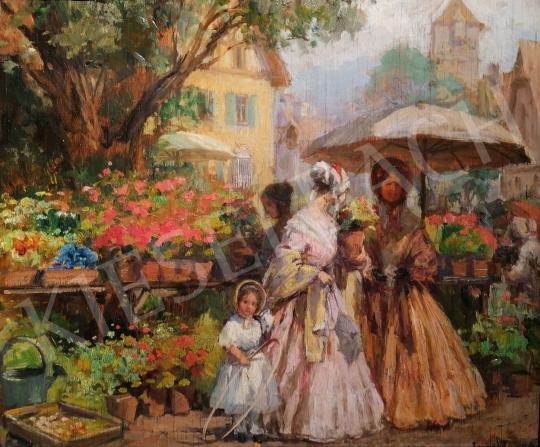 Eladó Gergely Imre - Virágpiac festménye