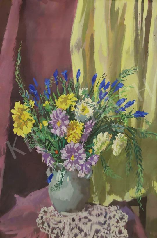 Eladó  Duray Tibor - Tarka virágcsendélet, 1953 festménye