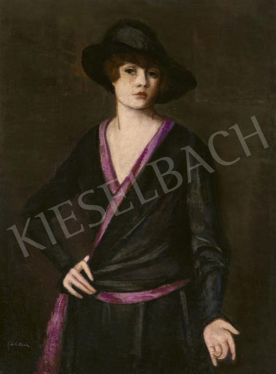 Eladó Lehel Mária - Fiatal kalapos nő (Önarckép) festménye