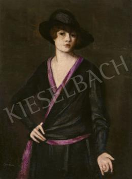 Lehel, Mária - Young Woman in Hat (Self Portrait)