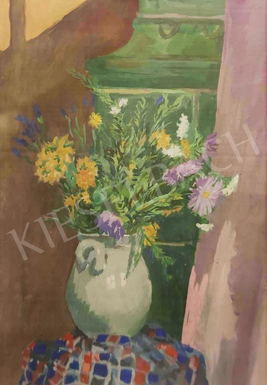 Eladó  Duray Tibor - Virágcsendélet színes terítővel, 1953 festménye