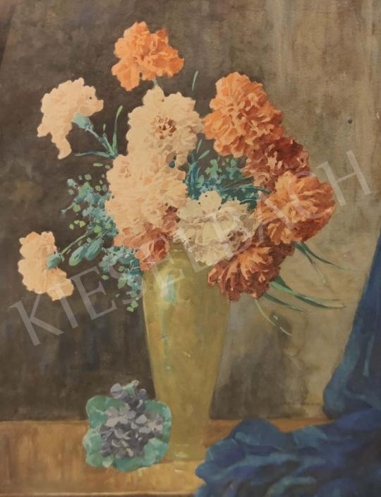 Eladó  Komáromi-Kacz Endréné (Kiss, Sarolta) - Szegfűk vázában festménye