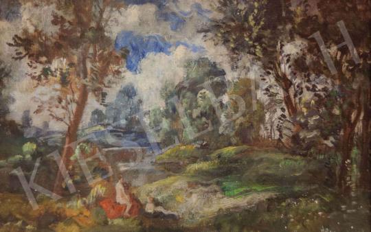 Eladó  Herman Lipót - Fürdőzők szabadban festménye