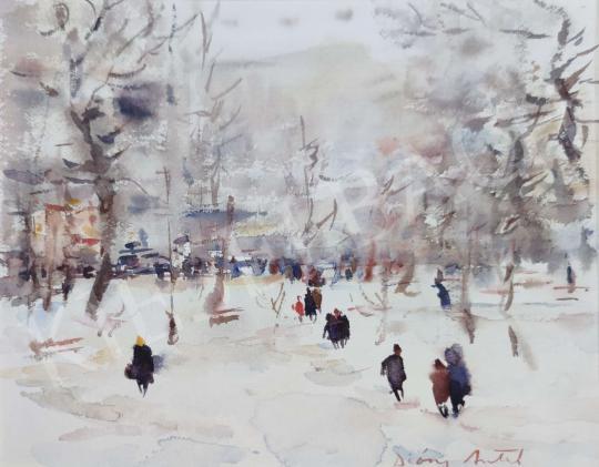 Eladó Diósy Antal - Budapesti téli park festménye