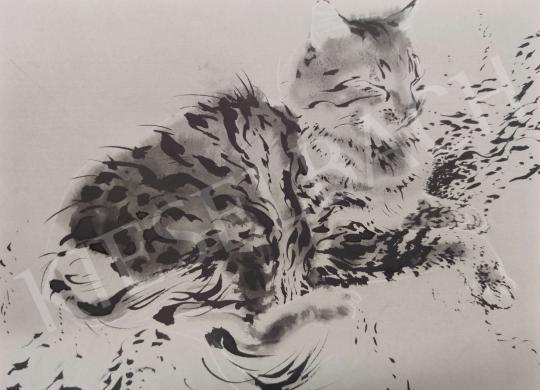 For sale  Kálmán Székely - Resting Cat 's painting