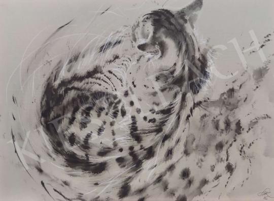Eladó  Székely Kálmán - Háttal kuporodó macska festménye
