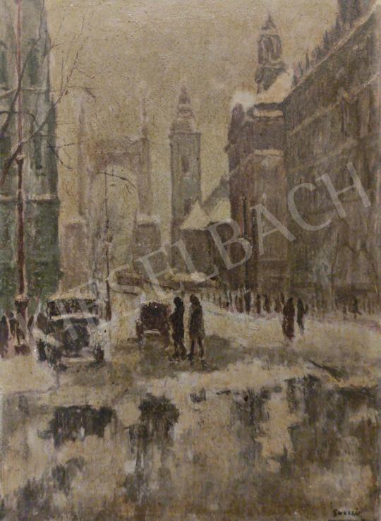 Eladó Guzsik Ödön - Téli Budapest az Erzsébet-hídnál festménye