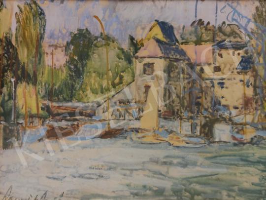 Eladó Ismeretlen festő - Balatoni kikötő festménye