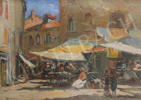 Halasi Horváth István - Velencei piac festménye