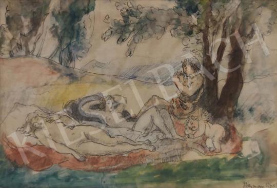 Eladó  Herman Lipót - Faun és nimfák festménye