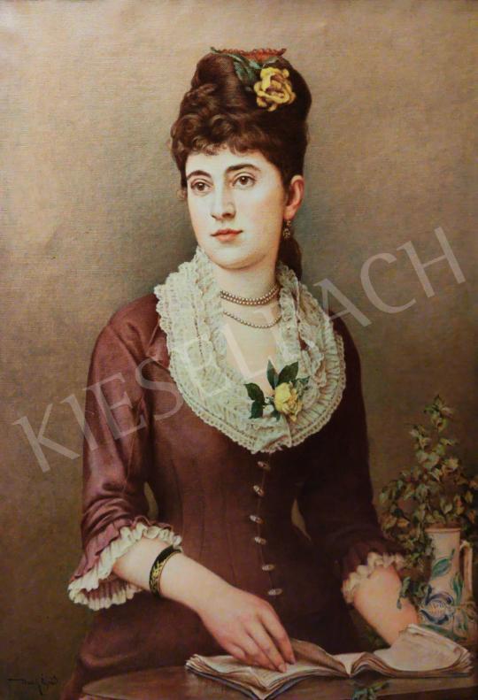 Eladó Basch Árpád - Fiatal hölgy (Horváth Magda) könyvvel festménye