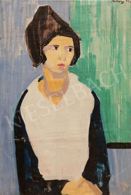 Eladó  Móricz Margit - Bubifrizurás lány, 1967 festménye