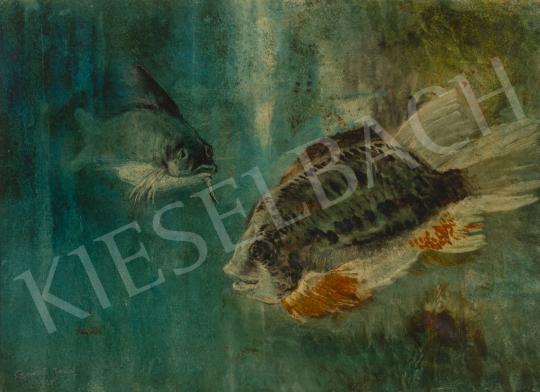 Eladó  Barát József - Halak az akváriumban festménye