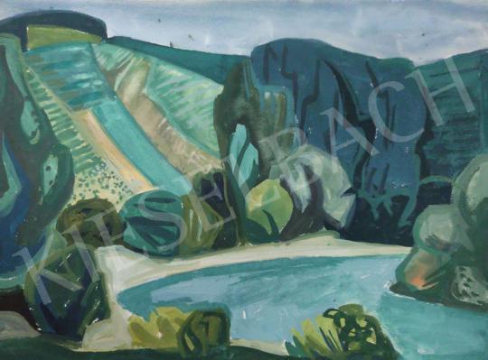Eladó Tamás Ervin - Vízpart fákkal, 1964 festménye