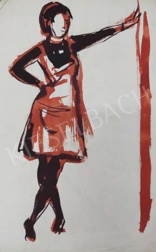 Eladó Tamás Ervin - Támaszkodó lány szoknyában, 1969 festménye