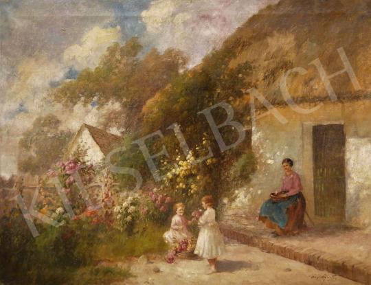 Eladó Ács Ágoston - Családi jelenet a tavaszi kertben festménye