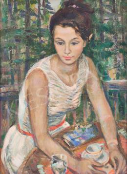 Balogh András - Fiatal lány a kávéház teraszán (Nyári hangulat)