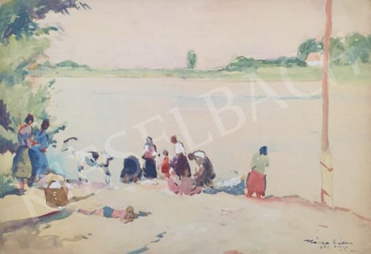 Eladó  Kássa Gábor - Piac a Duna partján festménye