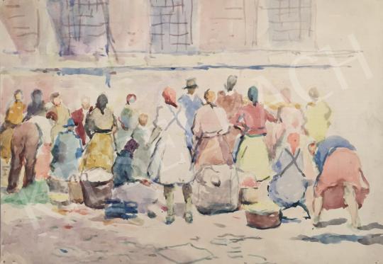 Eladó  Kássa Gábor - Piaci forgatag festménye